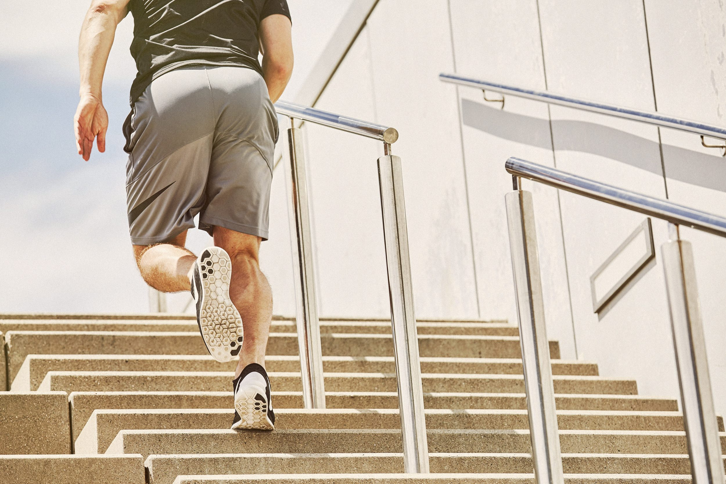 athlete doing stair training