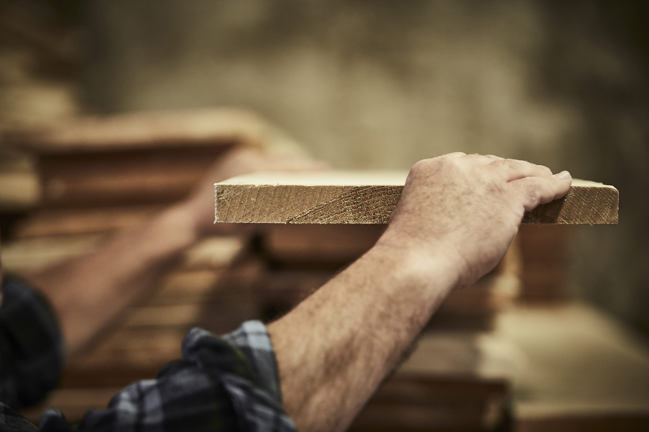 timber being selected for hand made furniture