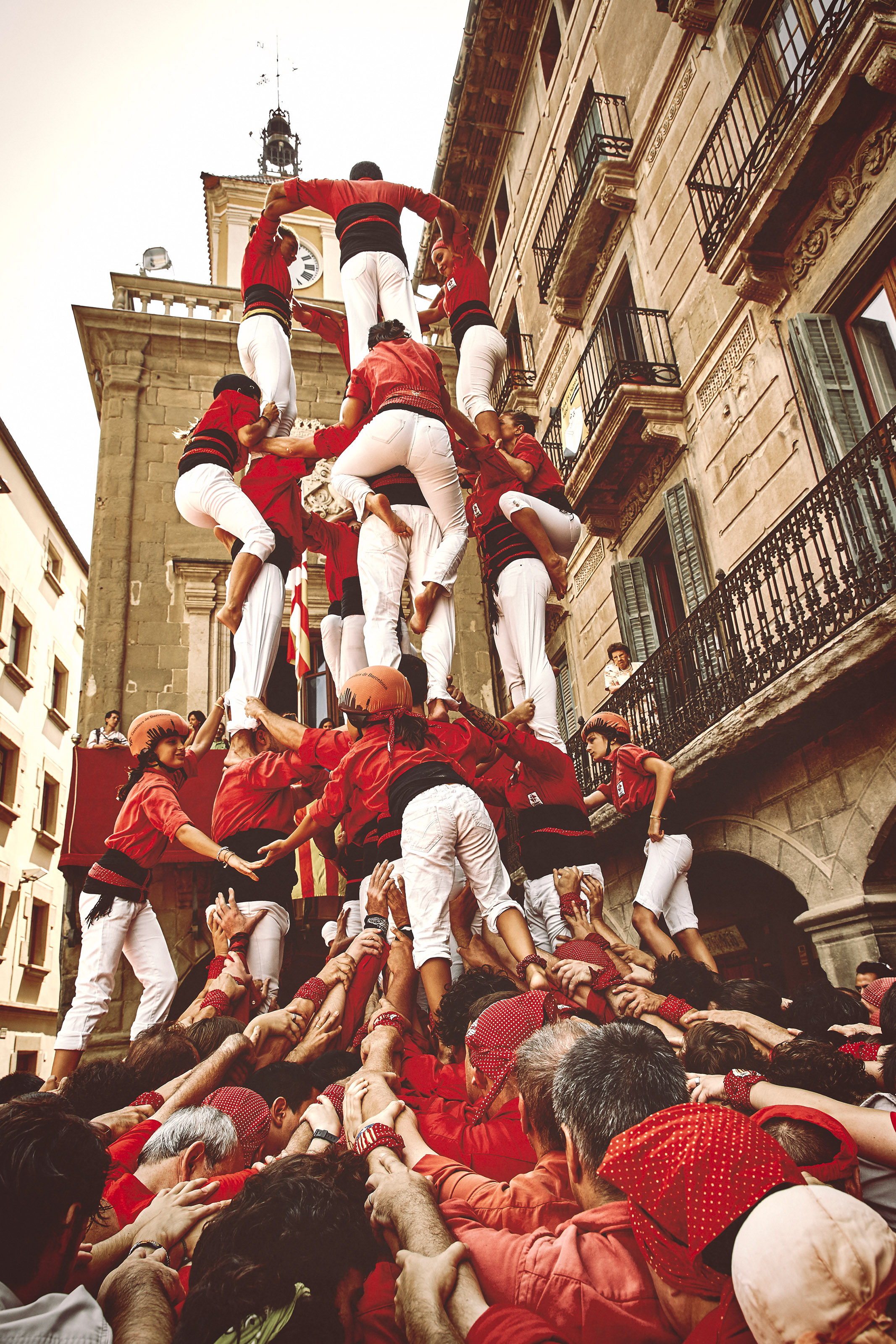 Castellers building a human tower