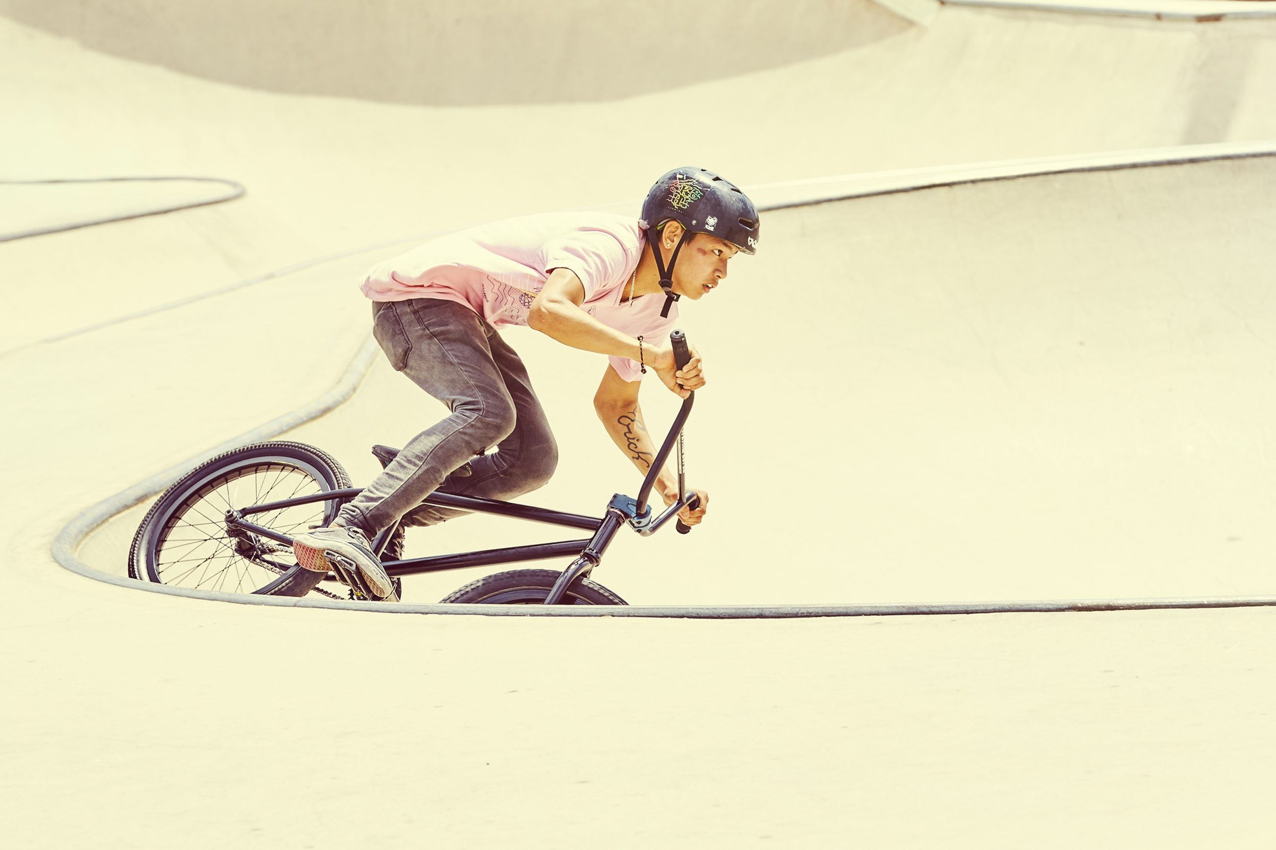 BMX rider in a half pipe