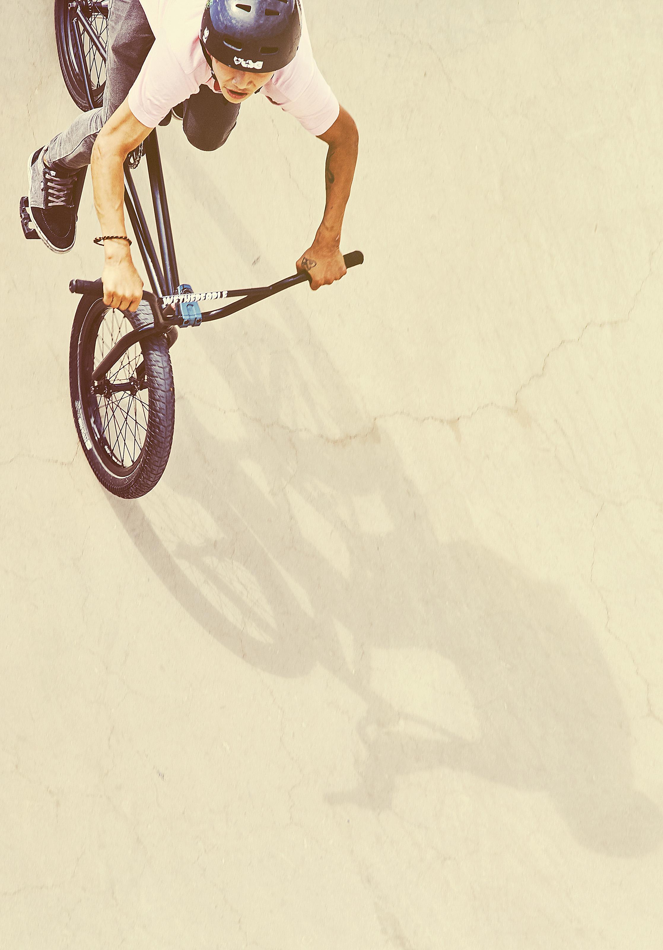 BMX rider on Barcelona beachfront