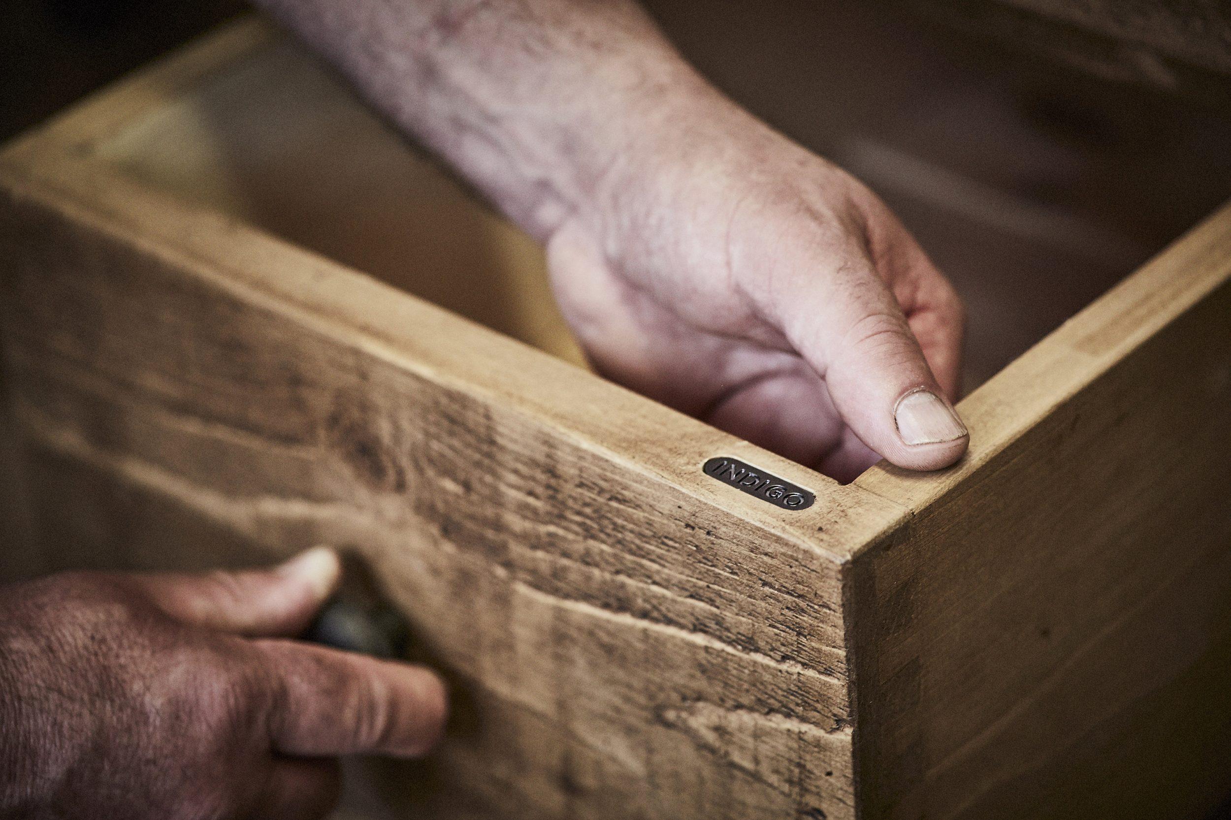 Indigo finishing touches to drawers